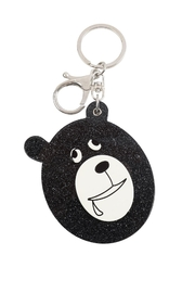 Riah Fashion Black/brown Assorted Drooly Bear W/ Mirror Keychain - Product Mini Image
