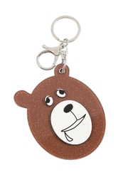 Riah Fashion Black/brown Assorted Drooly Bear W/ Mirror Keychain - Side cropped