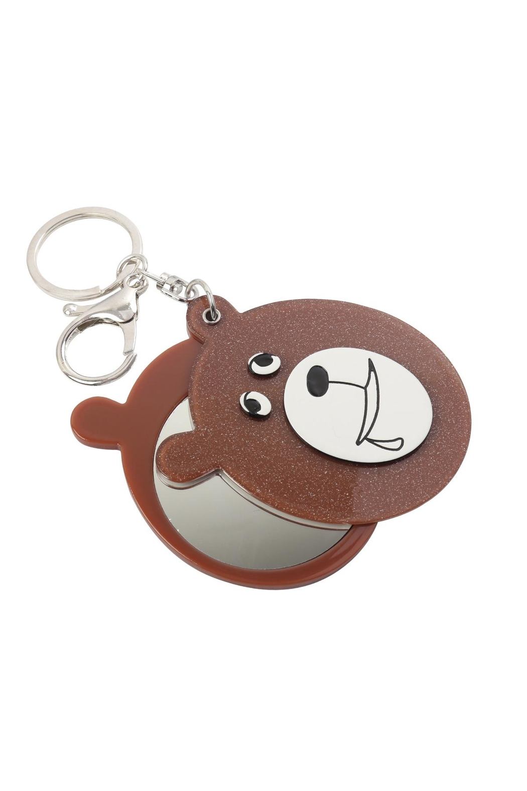 Riah Fashion Black/brown Assorted Drooly Bear W/ Mirror Keychain - Back Cropped Image
