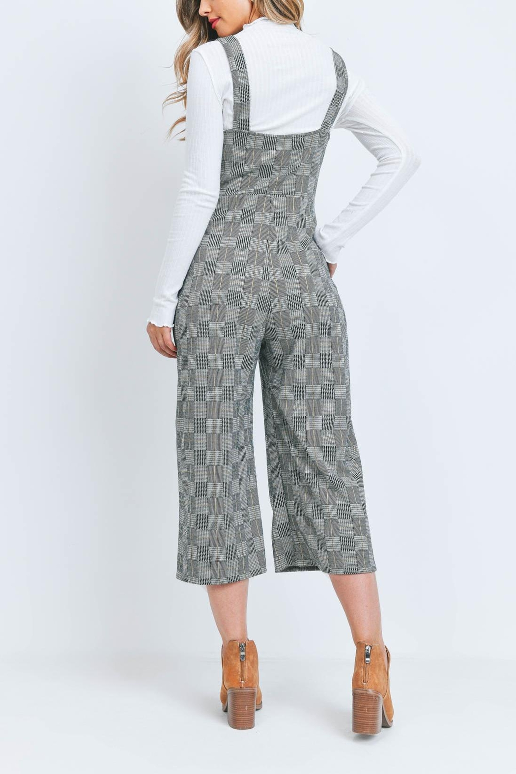 Riah Fashion Black-Checkered-Jumpsuit - Front Full Image