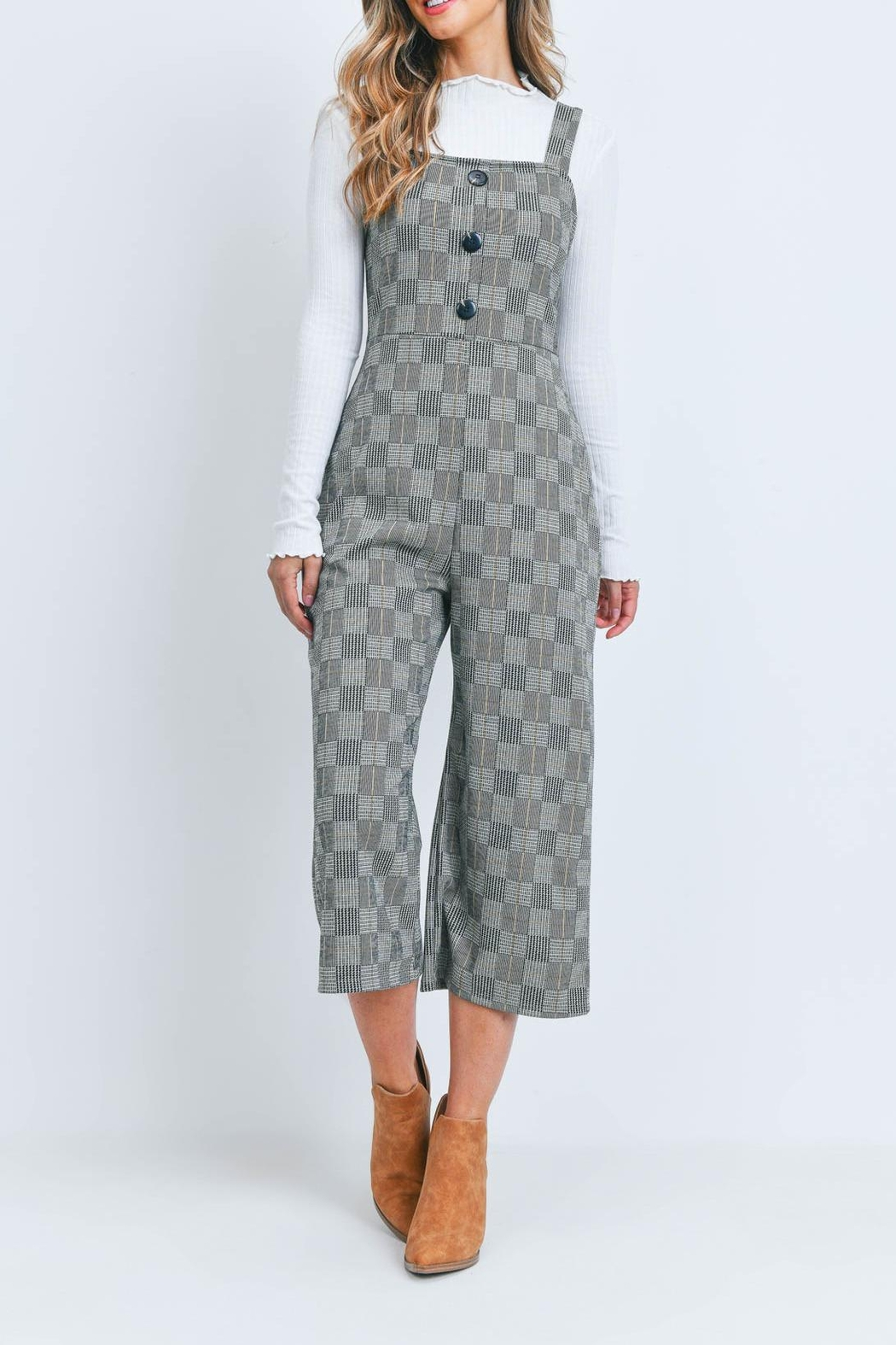 Riah Fashion Black-Checkered-Jumpsuit - Side Cropped Image