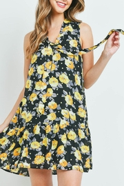 Riah Fashion Black-With Flower-Print Dress - Front cropped