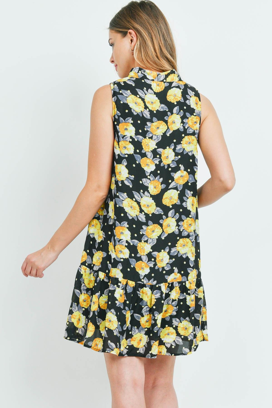 Riah Fashion Black-With Flower-Print Dress - Front Full Image
