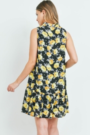 Riah Fashion Black-With Flower-Print Dress - Front full body