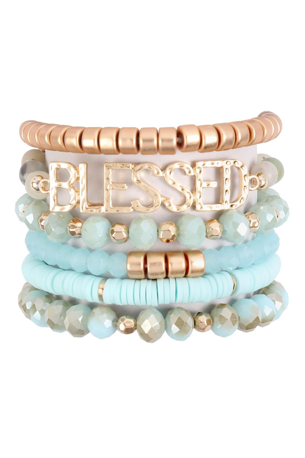 Riah Fashion Blessed Charm Multiline Beaded Bracelet - Front Cropped Image