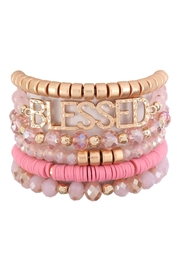 Riah Fashion Blessed Charm Multiline Beaded Bracelet - Front cropped