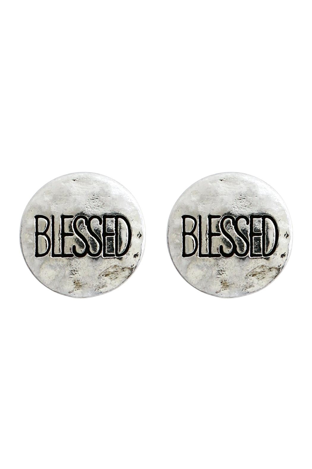 Riah Fashion Blessed Engraved Message-Earrings - Front Cropped Image