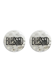 Riah Fashion Blessed Engraved Message-Earrings - Front cropped