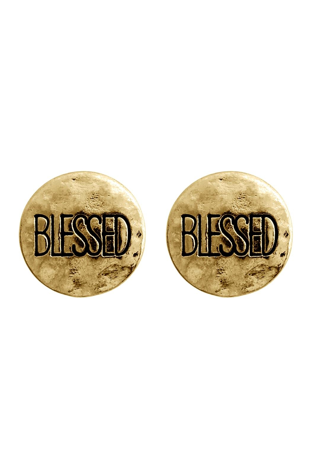 Riah Fashion Blessed Engraved Message-Earrings - Main Image