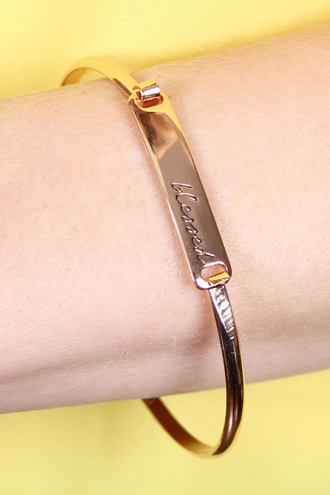 Riah Fashion Blessed-Hinge Plated Bracelet - Side Cropped Image