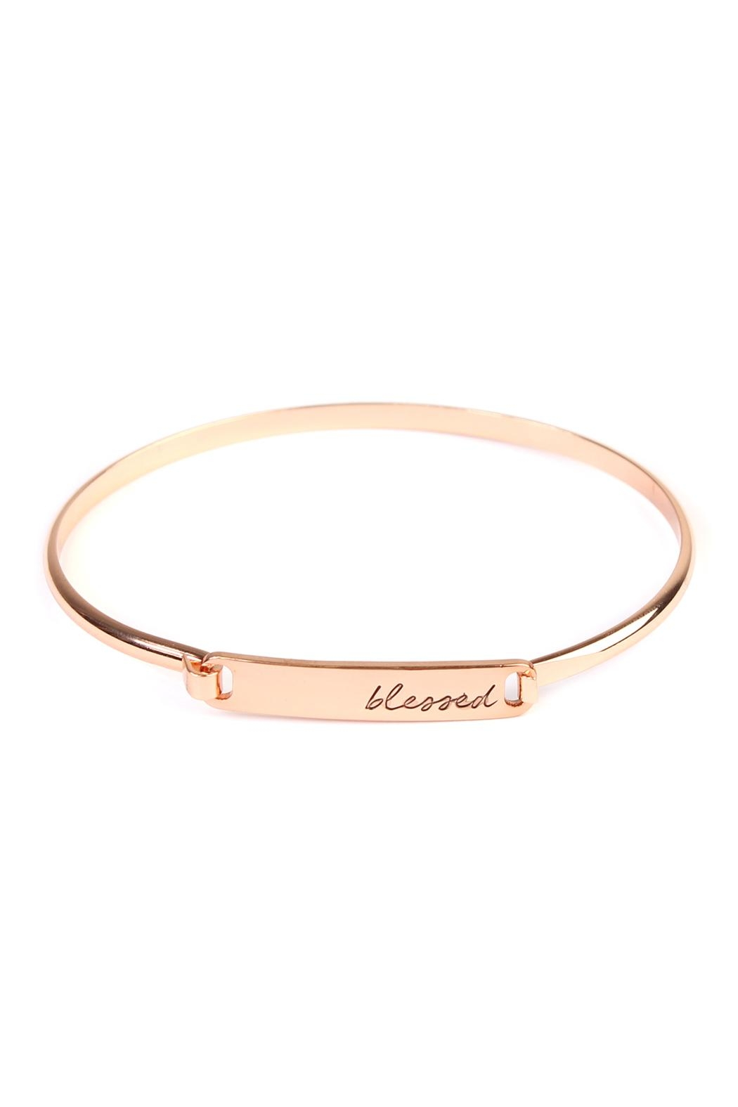 Riah Fashion Blessed-Hinge Plated Bracelet - Front Cropped Image