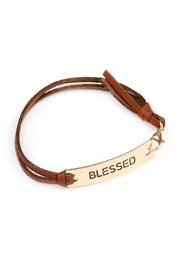 Riah Fashion Blessed Leather-Strap Message-Bracelet - Front cropped