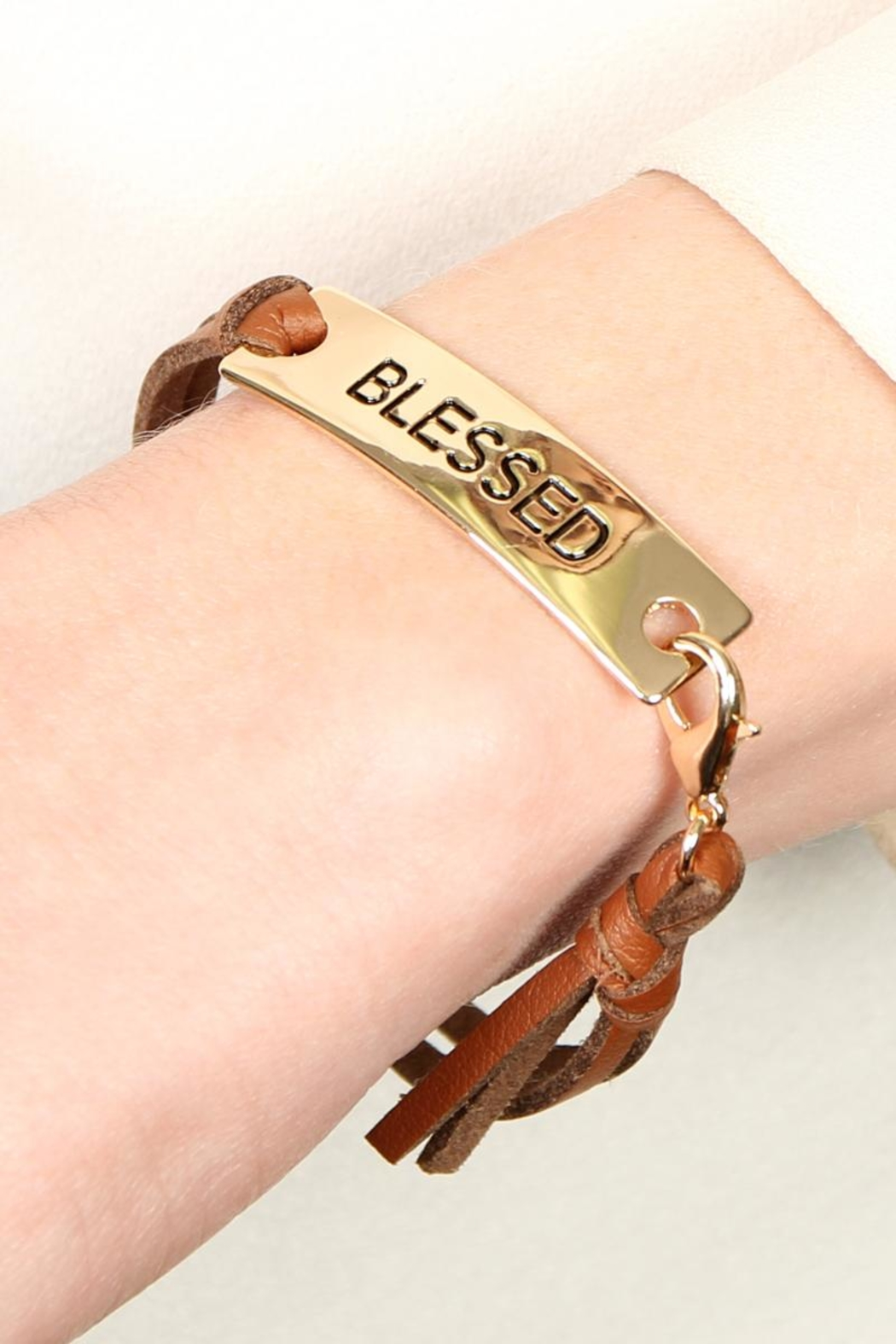 Riah Fashion Blessed Leather-Strap Message-Bracelet - Front Full Image