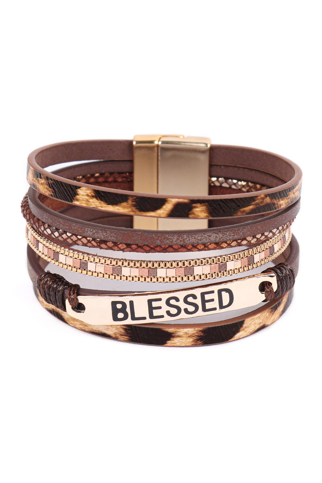 Riah Fashion Blessed-Leopard-Print-Leather-Magnetic-Lock-Bracelet - Main Image