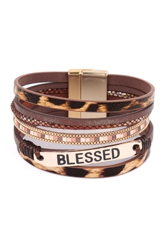 Riah Fashion Blessed-Leopard-Print-Leather-Magnetic-Lock-Bracelet - Product List Image