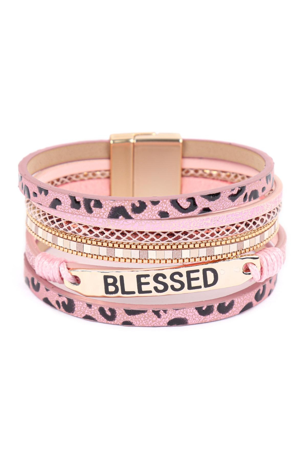 Riah Fashion Blessed-Leopard-Print-Leather-Magnetic-Lock-Bracelet - Front Cropped Image