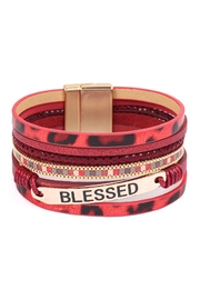 Riah Fashion Blessed-Leopard-Print-Leather-Magnetic-Lock-Bracelet - Front cropped