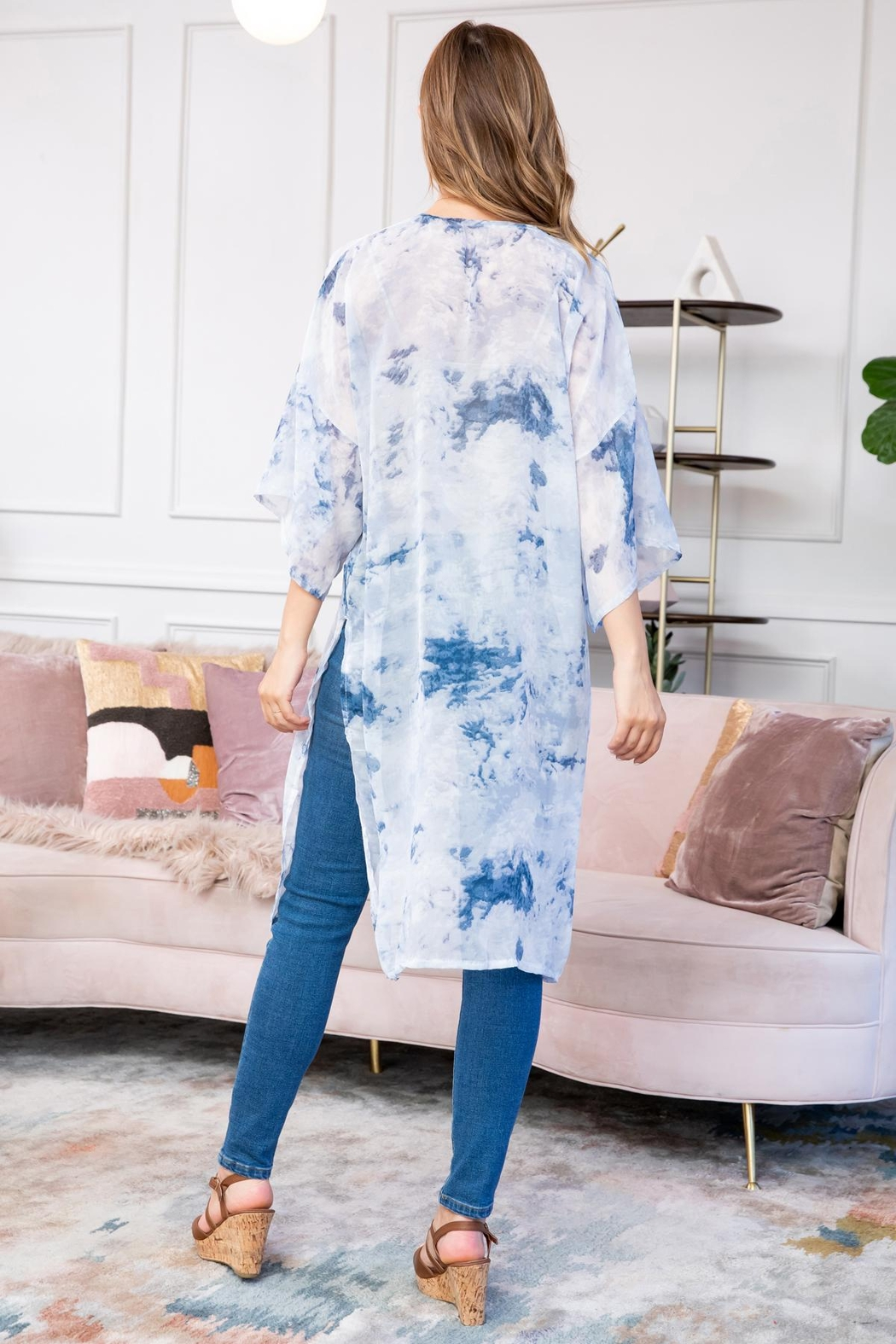 Riah Fashion Blue Dyed Open Front Kimono - Side Cropped Image