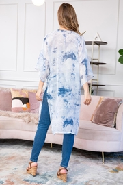 Riah Fashion Blue Dyed Open Front Kimono - Side cropped
