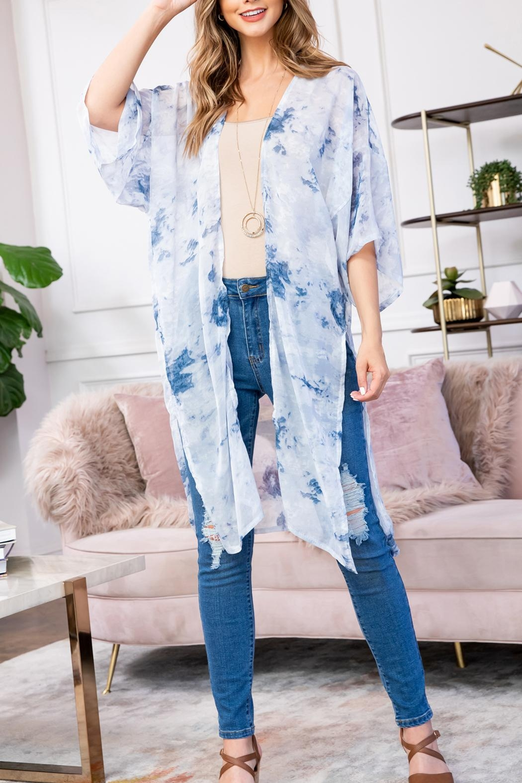 Riah Fashion Blue Dyed Open Front Kimono - Front Cropped Image