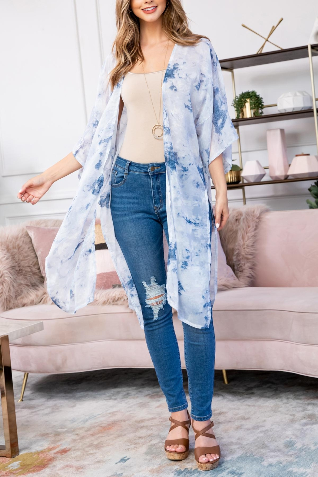 Riah Fashion Blue Dyed Open Front Kimono - Front Full Image