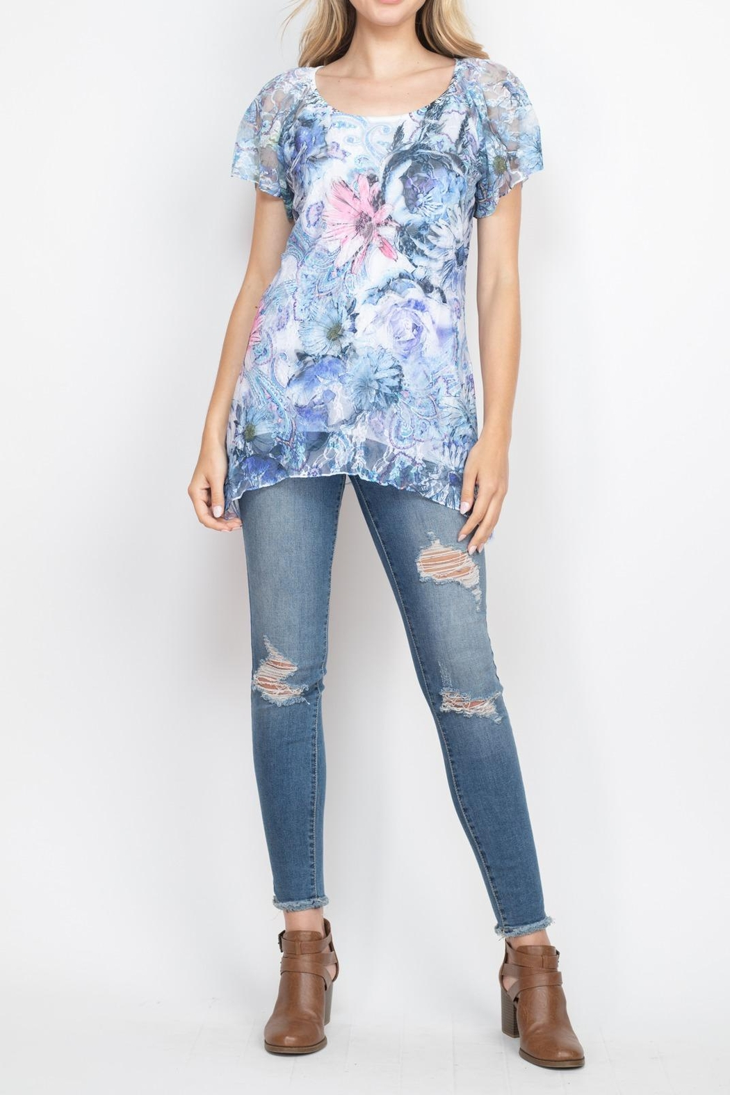 Riah Fashion Blue Floral Top - Side Cropped Image