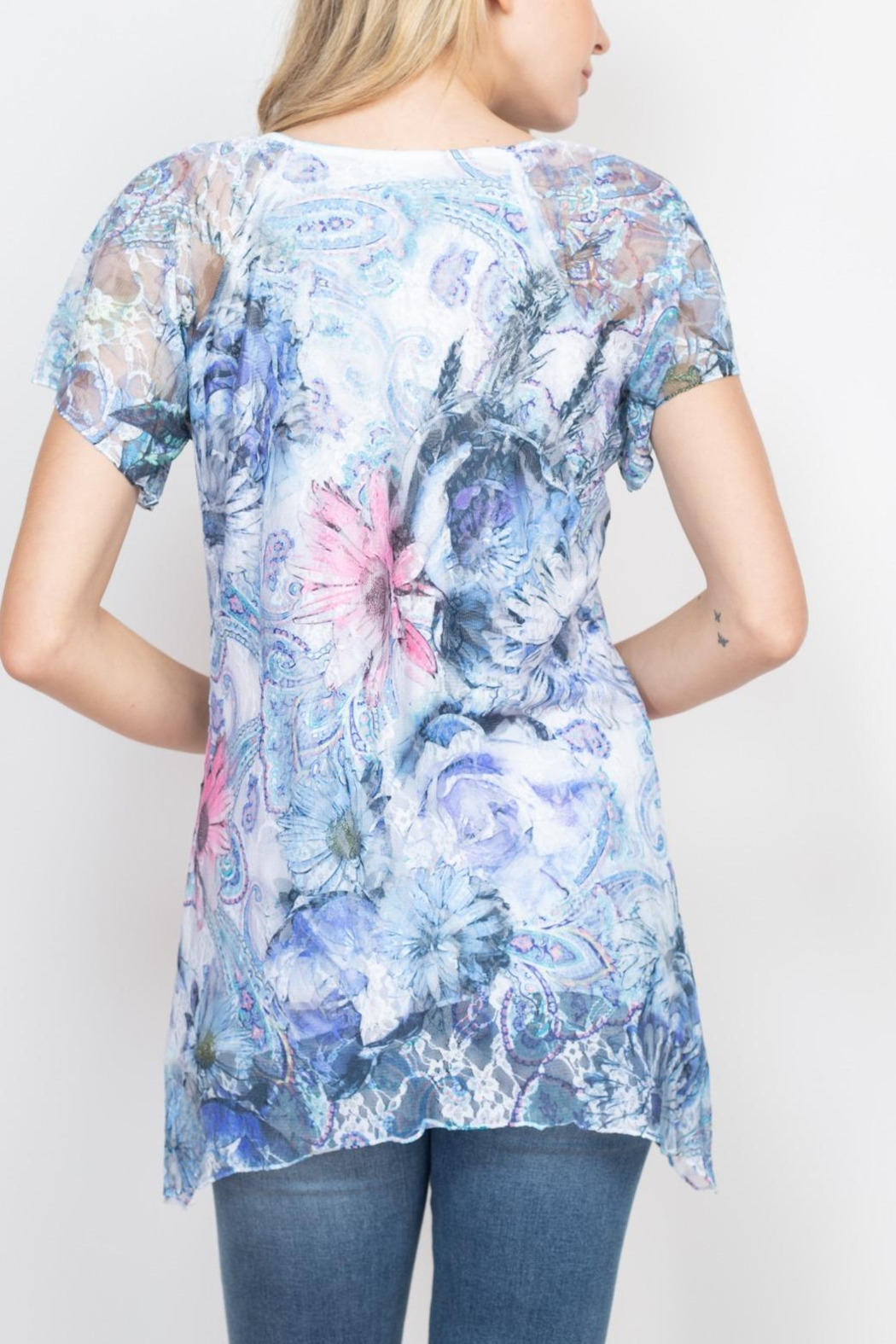 Riah Fashion Blue Floral Top - Front Full Image
