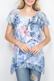 Riah Fashion Blue Floral Top - Other