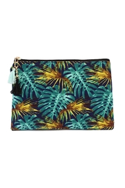 Riah Fashion Blue-&-Gold Leave-Print Cosmetic-Bag - Product Mini Image