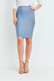 Riah Fashion Blue Gray Skirt - Front cropped