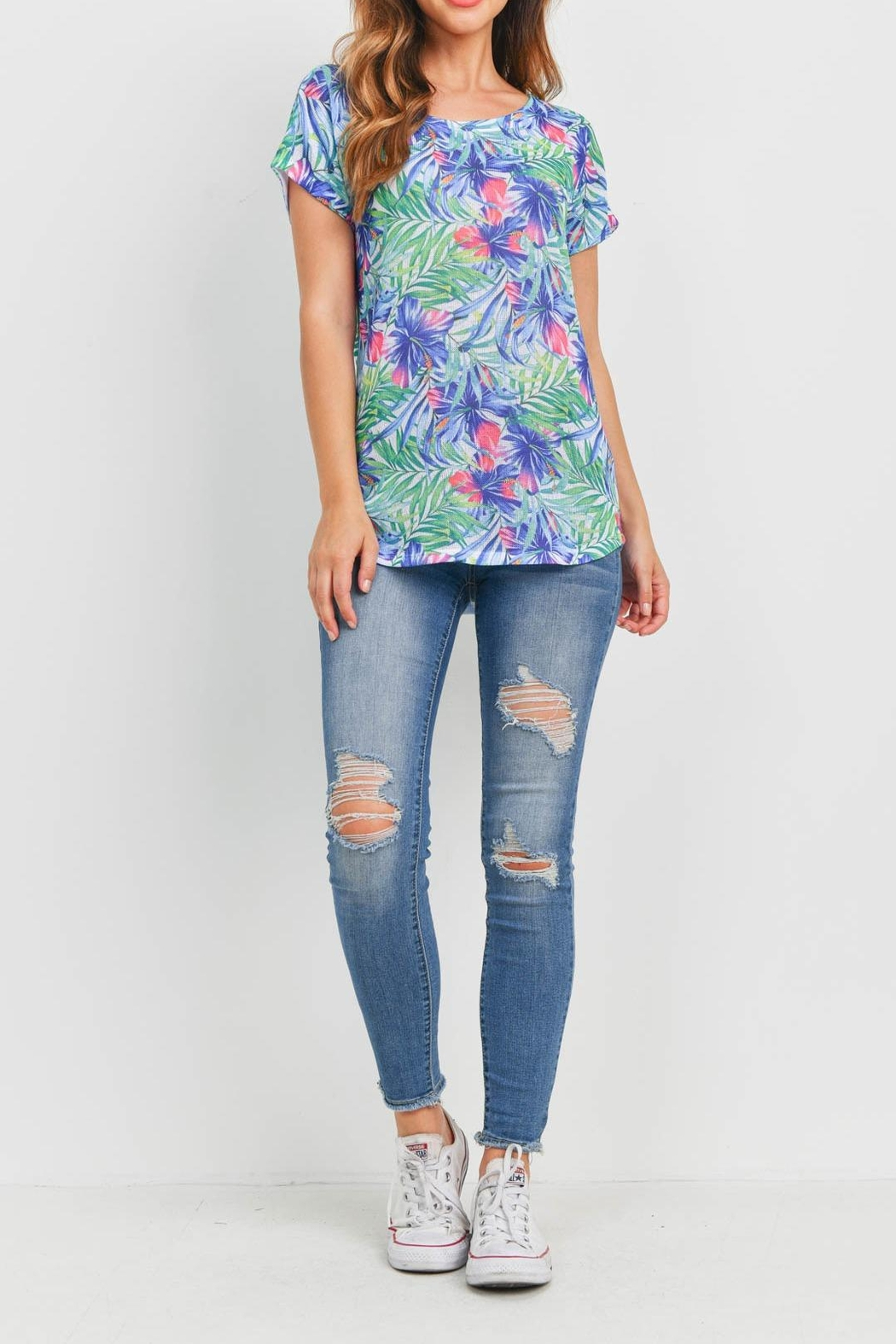 Riah Fashion Blue Green Floral - Side Cropped Image