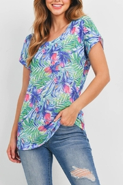 Riah Fashion Blue Green Floral - Front full body