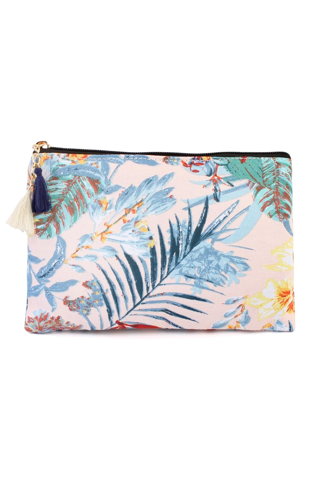 Riah Fashion Blue-Leave Tropical  Print-Bag - Front Cropped Image