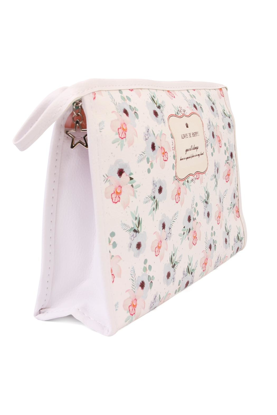 Riah Fashion Blue Rose Cosmetic Bag - Front Full Image