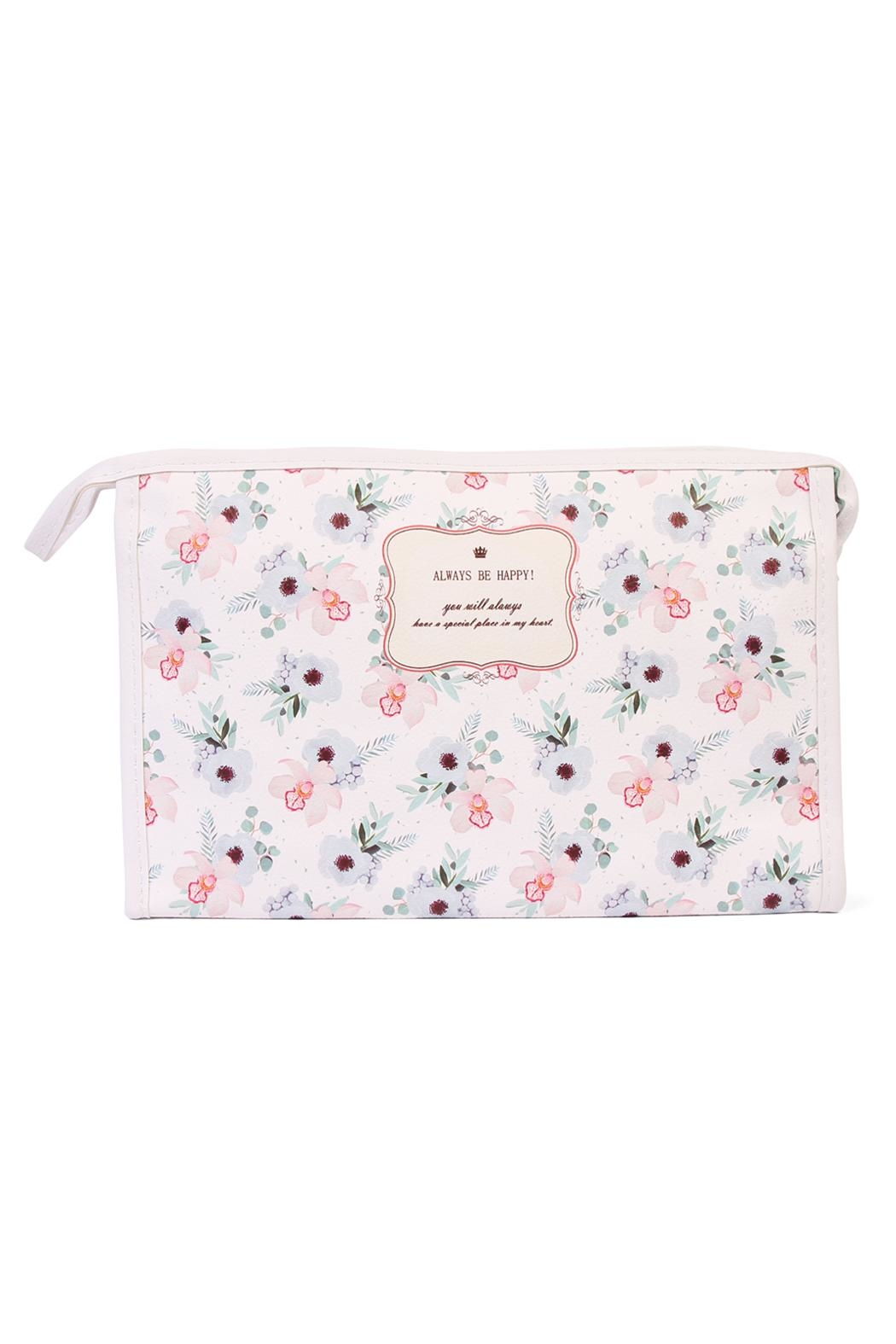 Riah Fashion Blue Rose Cosmetic Bag - Main Image