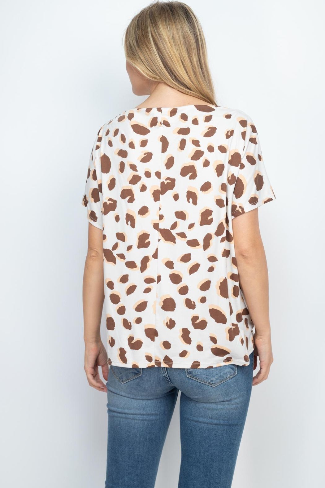 Riah Fashion Boat-Neckline-Twist-Front-Leopard-Top - Front Full Image