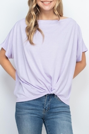 Riah Fashion Boat-Neckline-Twist-Front-Solid-Top - Product Mini Image