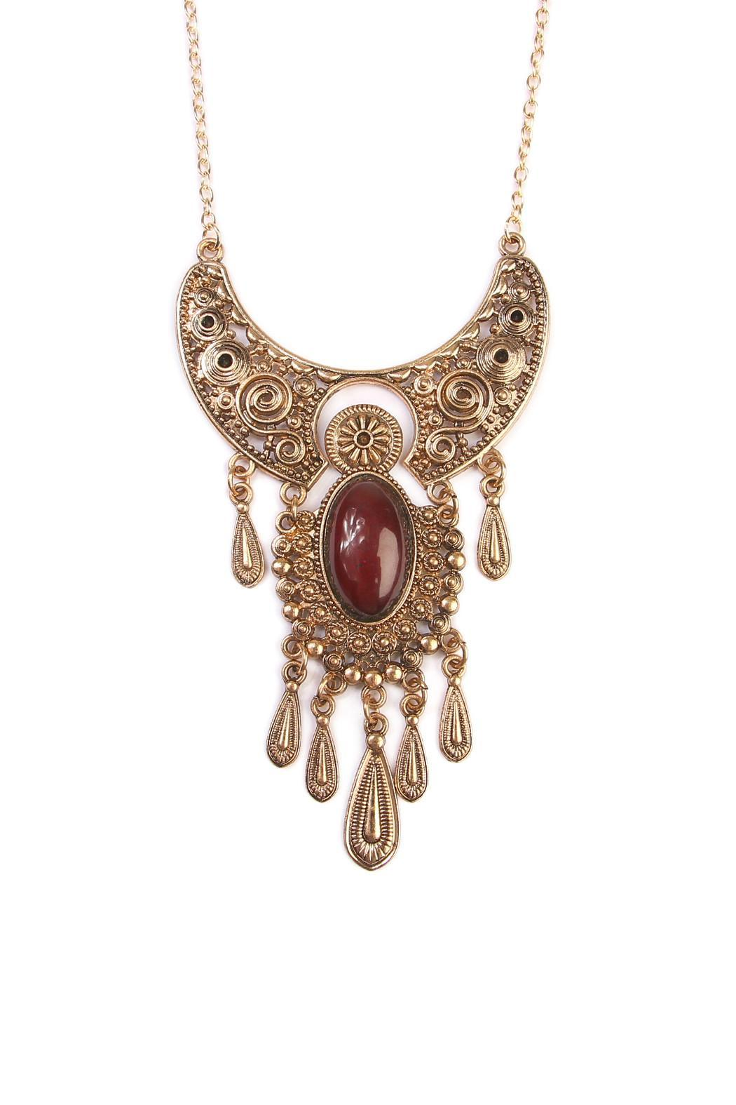 Riah Fashion Bohemain Statement Necklace - Side Cropped Image