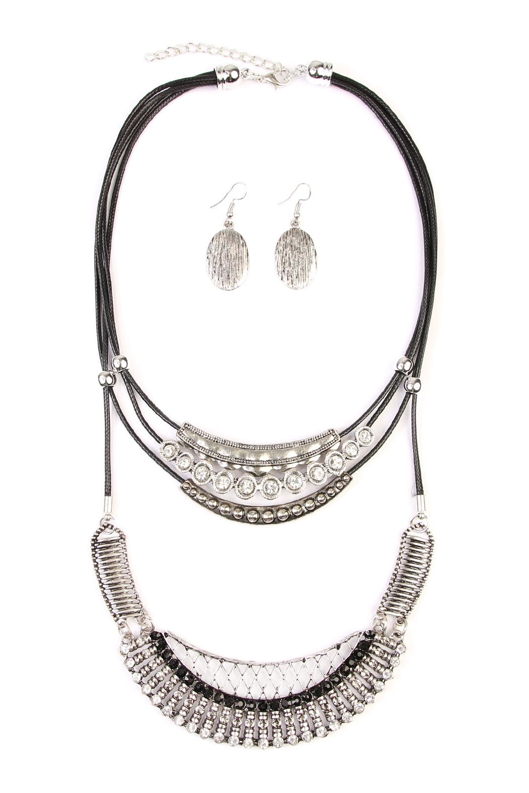 Riah Fashion Bohemian-Aztec-Necklace & Earring-Set - Front Cropped Image