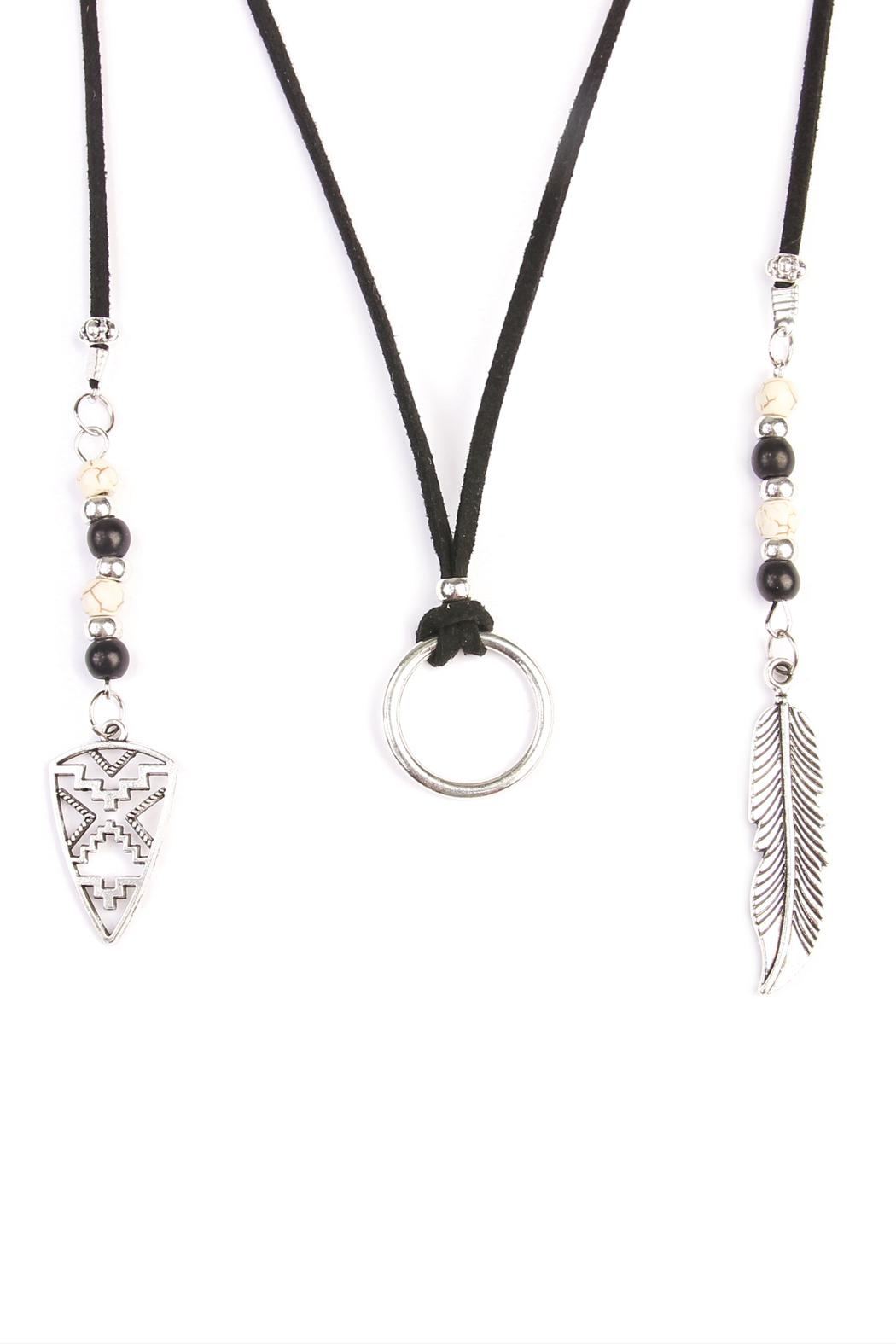 Riah Fashion Bohemian Feather Necklace - Front Full Image