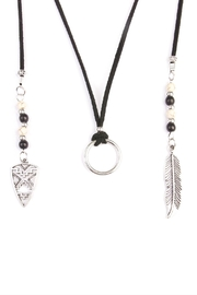 Riah Fashion Bohemian Feather Necklace - Front full body