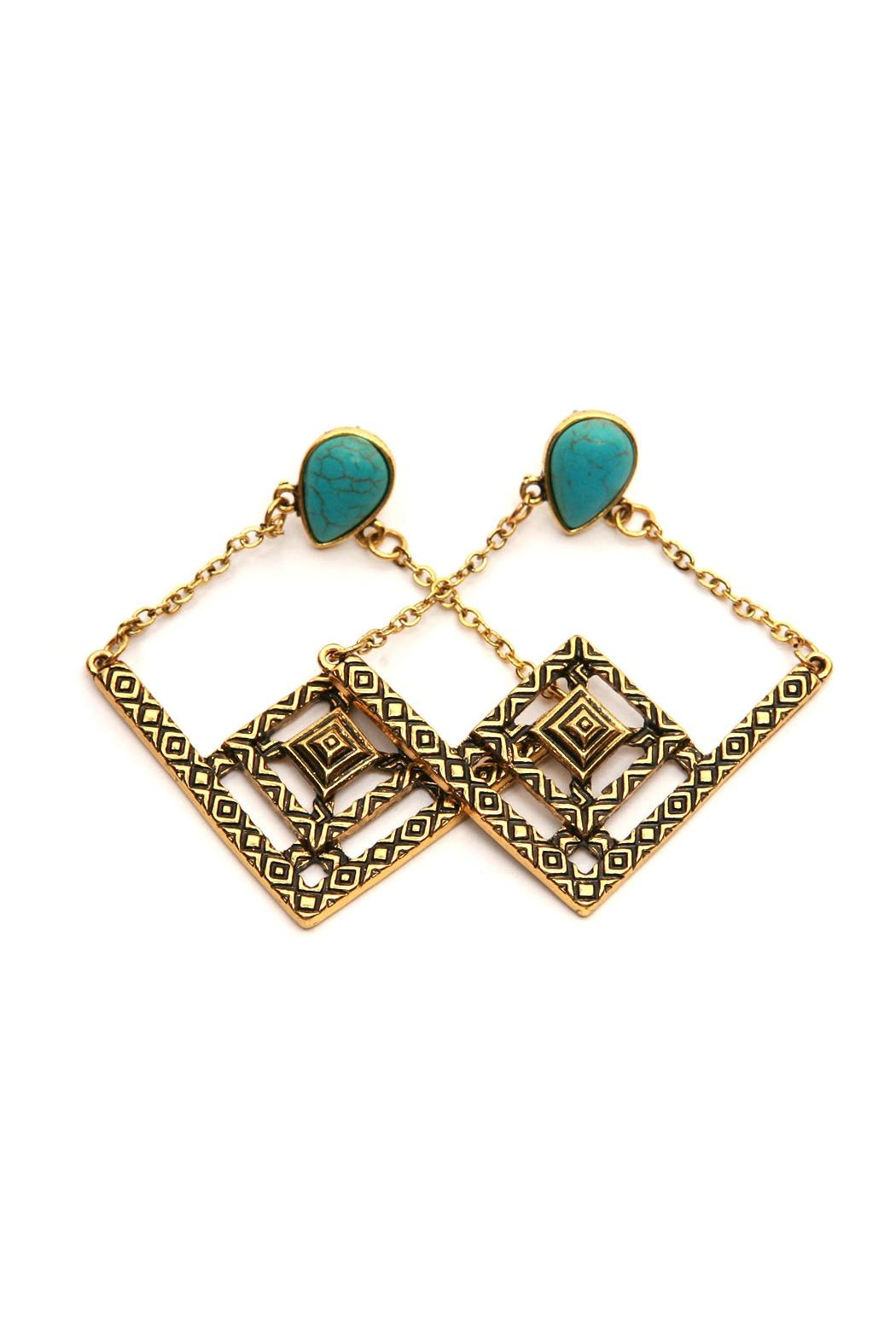 Riah Fashion Boho Dropped Earrings - Front Cropped Image