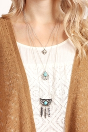 Riah Fashion Flower Teardrop Turquoise Pendent-Layer-Necklace - Side cropped