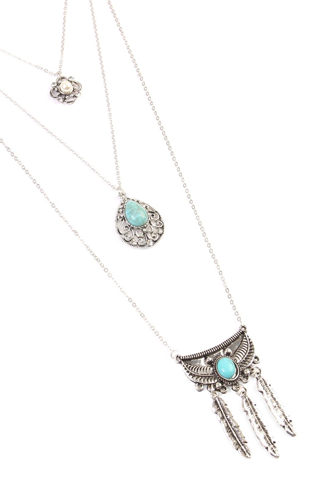Riah Fashion Flower Teardrop Turquoise Pendent-Layer-Necklace - Front Full Image