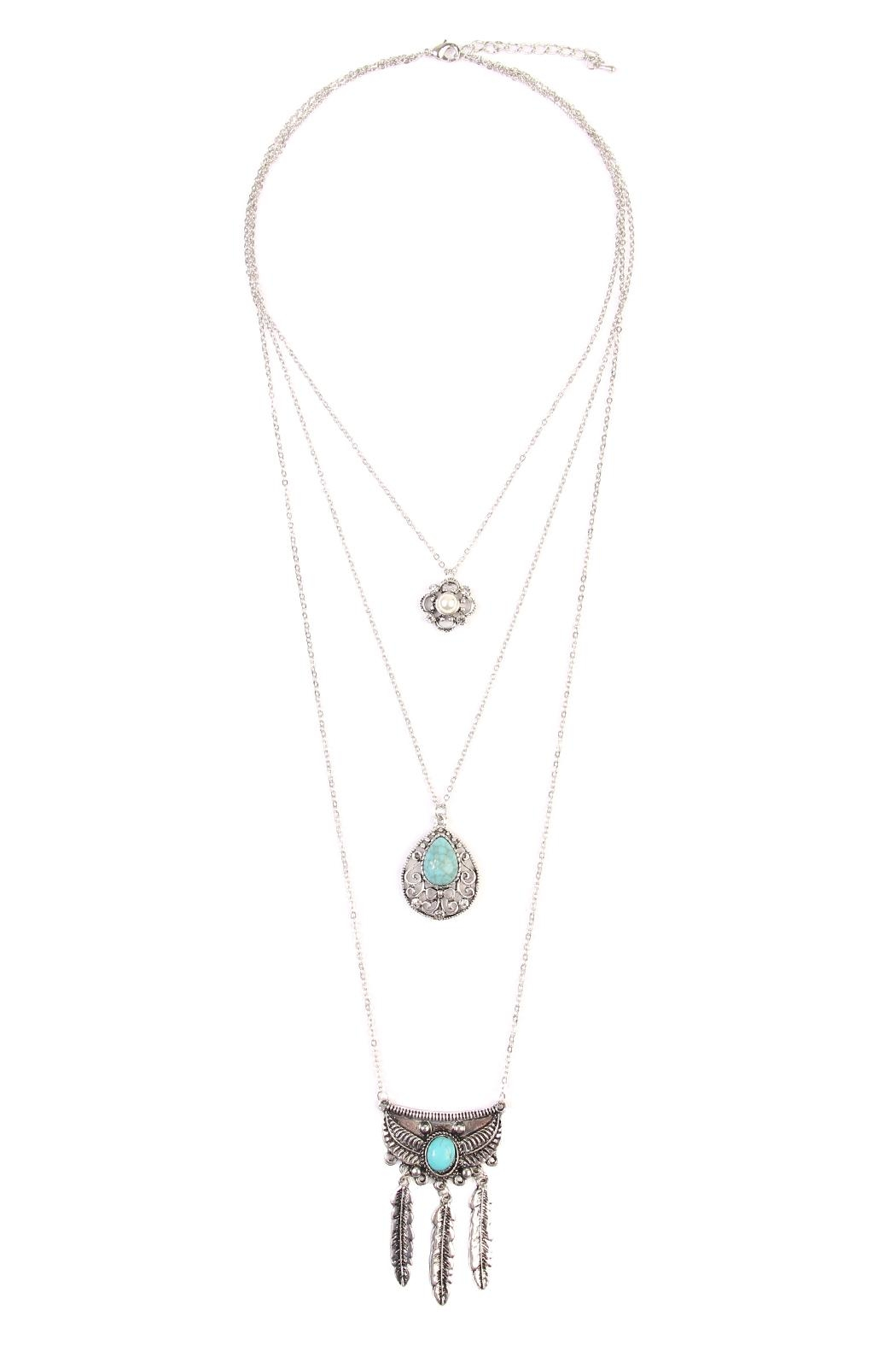 Riah Fashion Flower Teardrop Turquoise Pendent-Layer-Necklace - Main Image