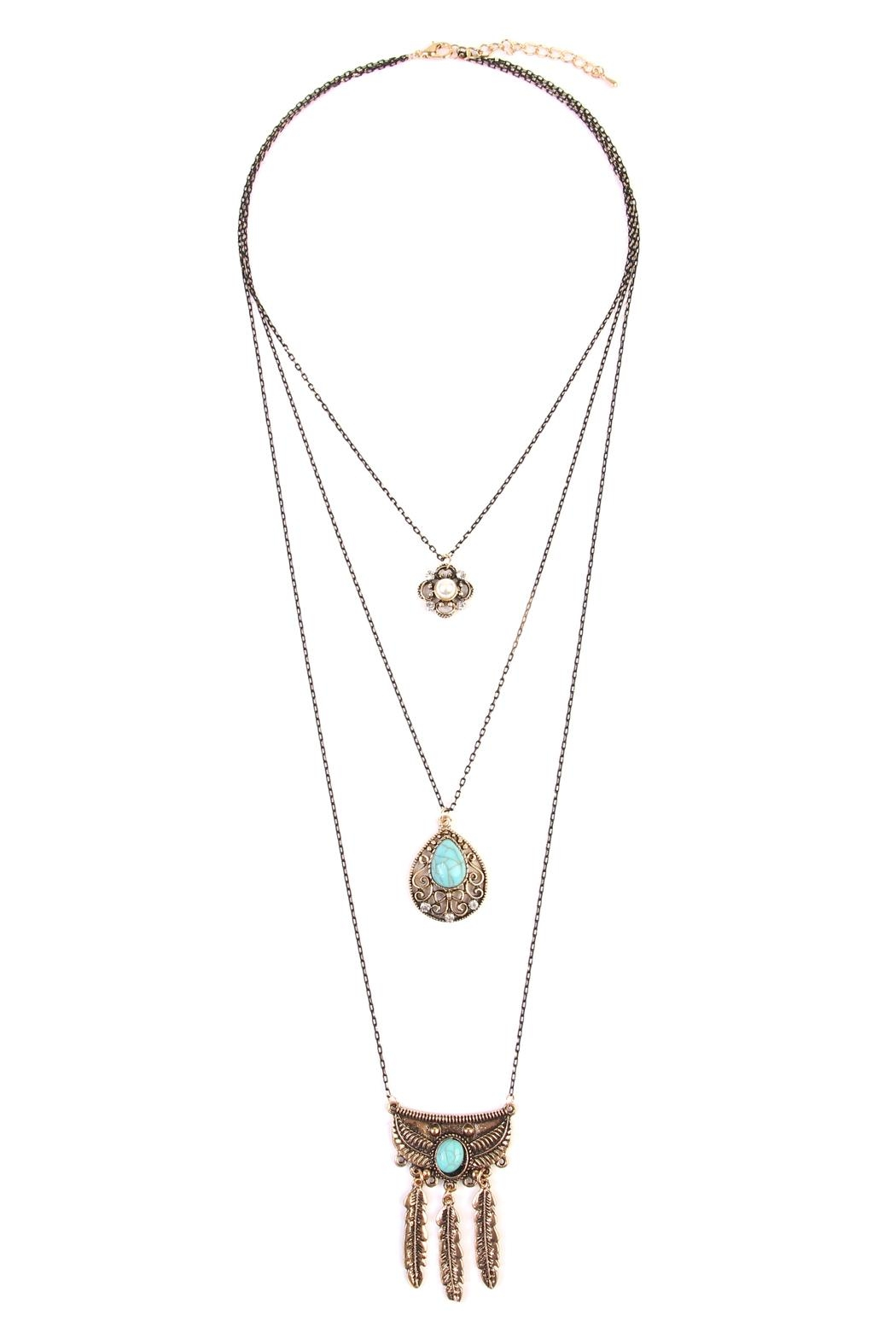 Riah Fashion Flower Teardrop Turquoise Pendent-Layer-Necklace - Front Cropped Image