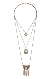 Riah Fashion Flower Teardrop Turquoise Pendent-Layer-Necklace - Front cropped