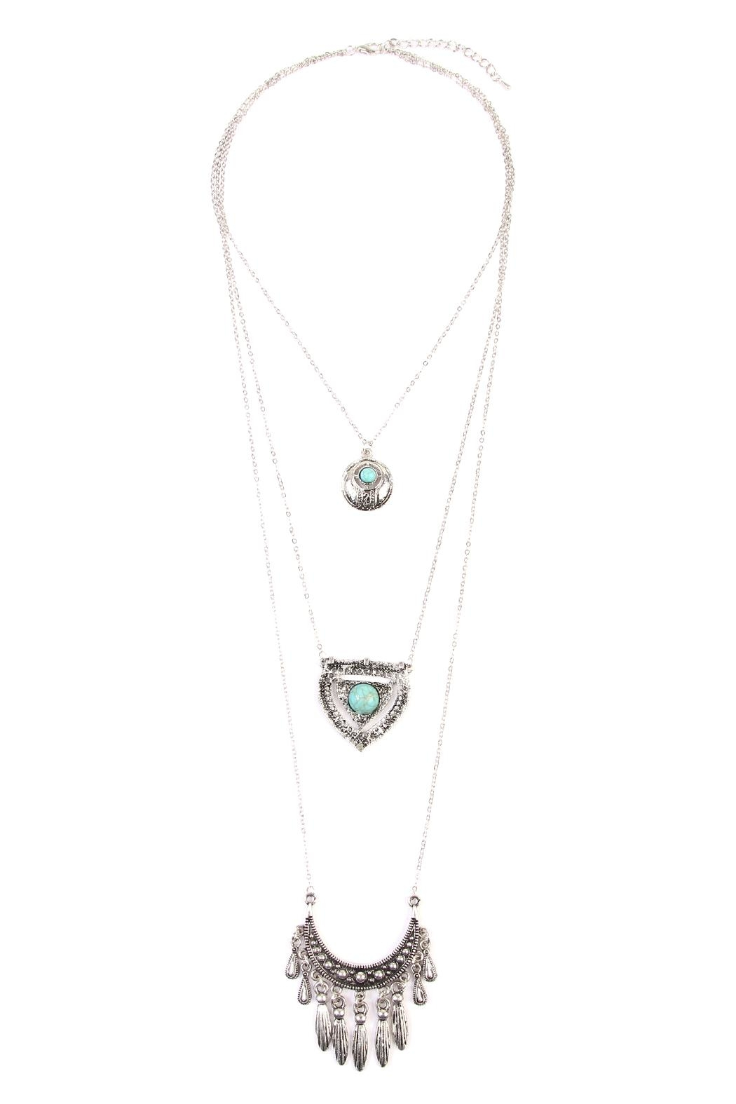 Riah Fashion Turquoise Pendent Layer Necklace - Front Cropped Image