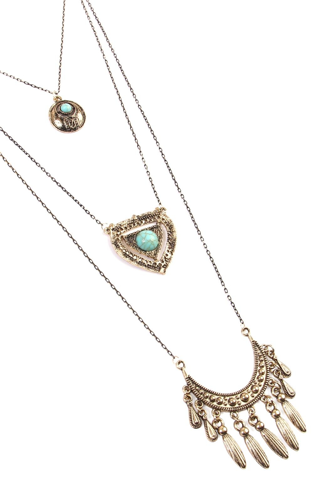 Riah Fashion Turquoise Pendent Layer Necklace - Front Full Image