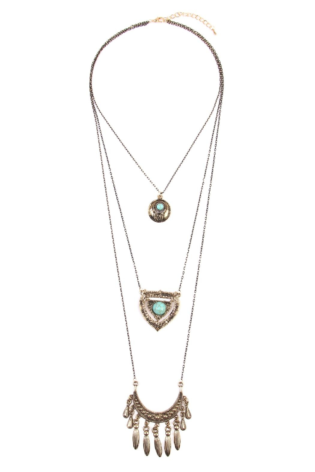 Riah Fashion Turquoise Pendent Layer Necklace - Main Image